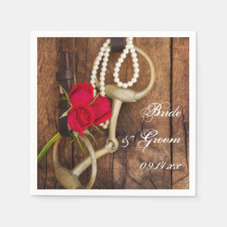 Red Roses and Horse Bit Country Western Wedding Disposable Serviette