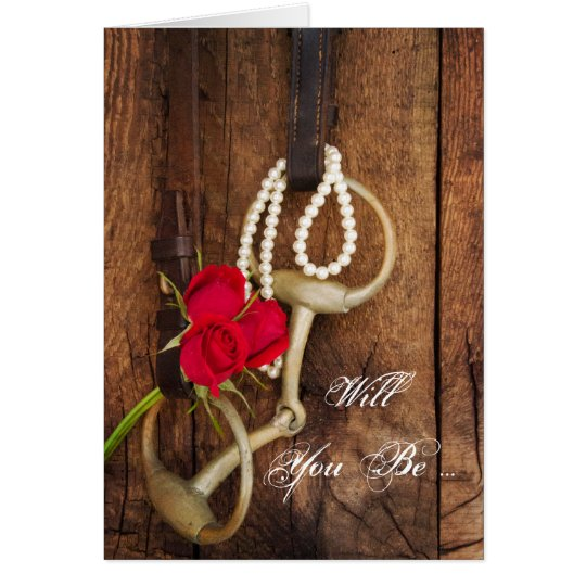 Red Roses and Horse Bit Will You Be My Bridesmaid Card