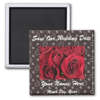 Red Roses and Party Swirls Save the Date Magnet