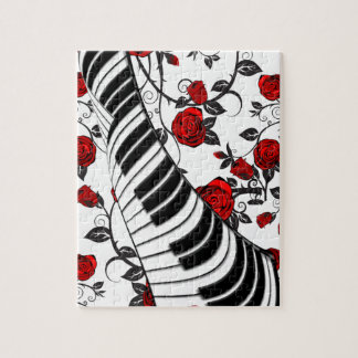 Red roses and piano keys, eye catching! jigsaw puzzle