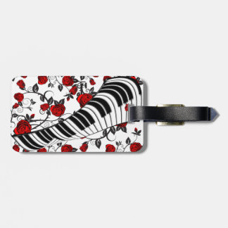 Red roses and piano keys, eye catching! luggage tag
