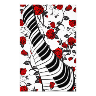 Red roses and piano keys, eye catching! stationery