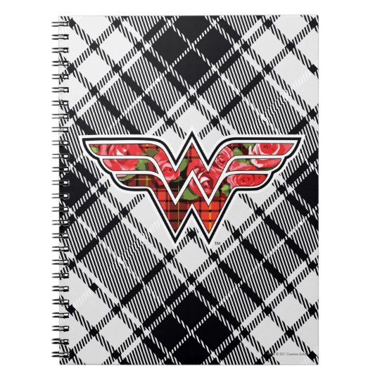 Red Roses and Plaid Wonder Woman Logo Notebooks