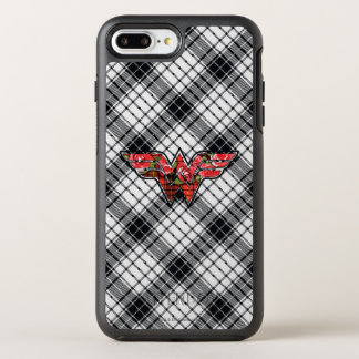 Red Roses and Plaid Wonder Woman Logo OtterBox Symmetry iPhone 8 Plus/7 Plus Case