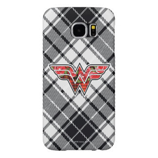 Red Roses and Plaid Wonder Woman Logo Samsung Galaxy S6 Cases