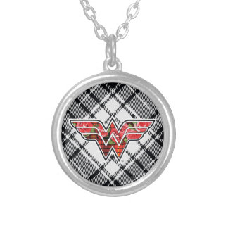 Red Roses and Plaid Wonder Woman Logo Silver Plated Necklace