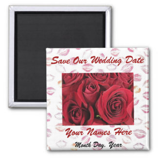 Red Roses and Red Lips Save the Date Magnet