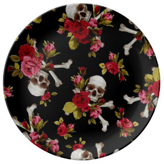 Red Roses and Skulls Plate
