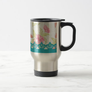 Red roses and stripes with crown stainless steel travel mug
