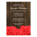 Red Roses Barn Wood Bridal Shower Custom Announcement