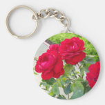 Red Roses Basic Round Button Key Ring