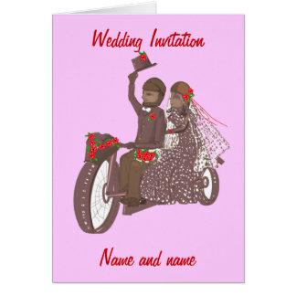 Red Roses Biker, or Motorcycle Wedding Cards