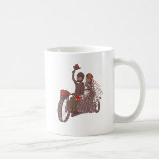 Red Roses Biker Wedding Cards and Products Basic White Mug