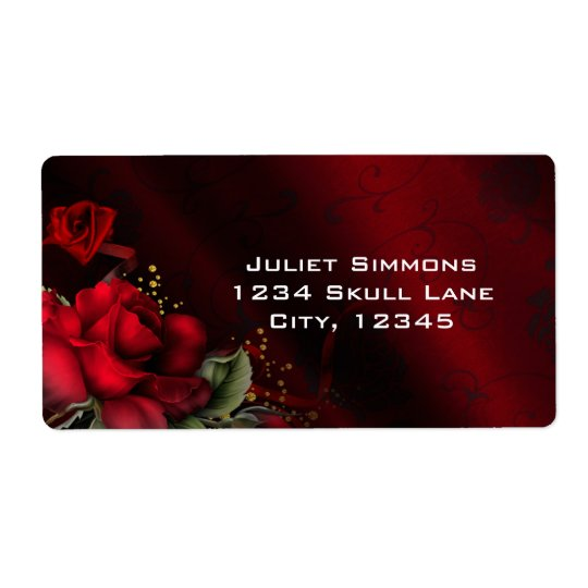 Red Roses Black Gothic Goth Address Labels