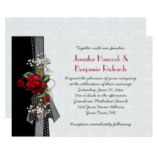 Red Roses Black Ribbons Wedding Invitations