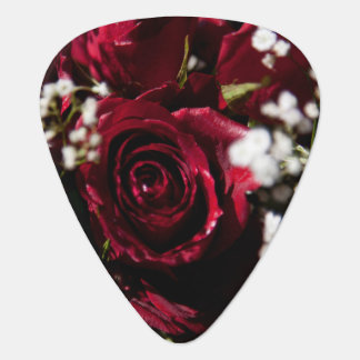 Red roses bouquet close up guitar pick