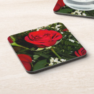 Red Roses Bouquet Photo Coaster