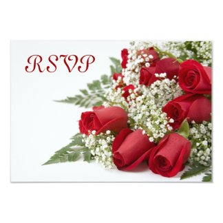 Red Roses Bouquet RSVP Cards