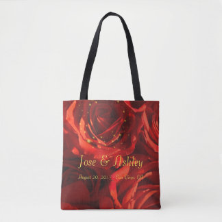 Red roses bouquet tote bag