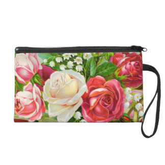 Red Roses Bouquet Watercolor Wristlet