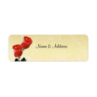 Red Roses Champagne Label Return Address Label