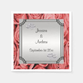 Red Roses & Diamond Wedding Rings Paper Napkins