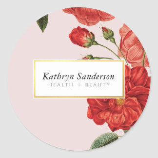 RED ROSES eco cute floral stylish vintage bouquet Classic Round Sticker