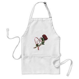 Red Roses Elegant Heart Design Apron