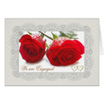 Red roses Engagement announcement Card