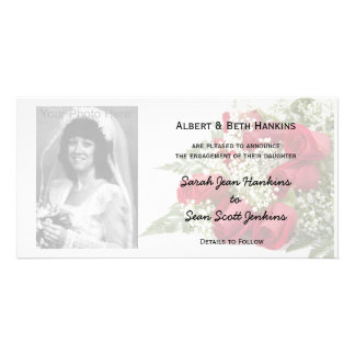 Red Roses Engagement Announcement Photo Cards