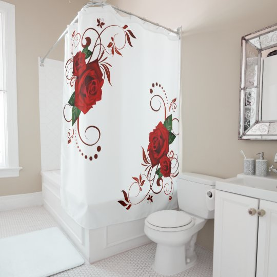 Red Roses Fancy Floral Pattern Shower Curtain | Zazzle.co.uk