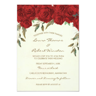 Red roses floral ivory wedding invitation