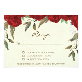 Red roses floral ivory wedding rsvp reply card