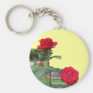 Red Roses Flower Photo Keychain