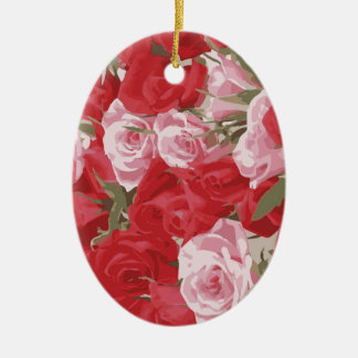 Red Roses for Thalia Ceramic Oval Decoration