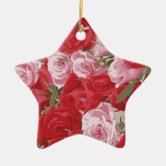 Red Roses for Thalia Ceramic Star Decoration
