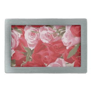 Red Roses for Thalia Rectangular Belt Buckles