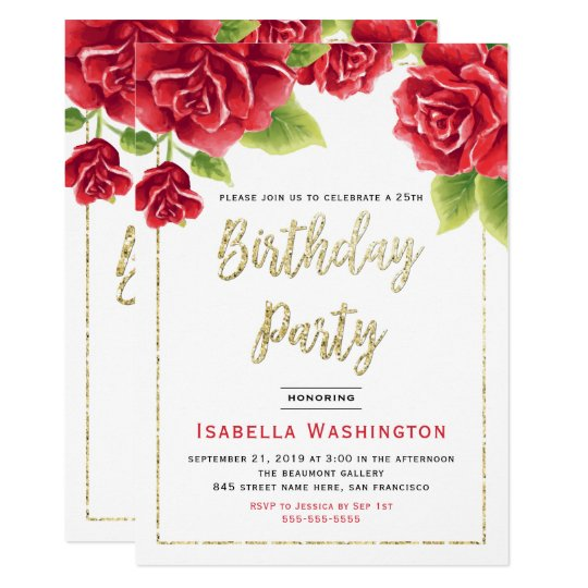 Red Roses & Gold Glitter Birthday Party Card
