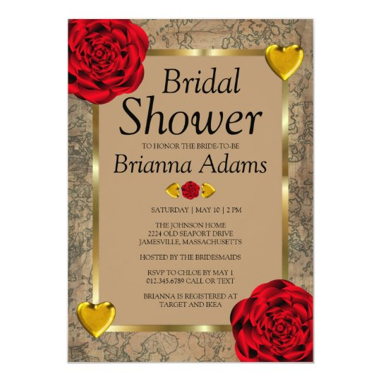 Red Roses & Gold Hearts Bridal Shower Invitations