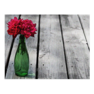 red roses green bottle postcard