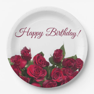 Red roses happy birthday 9 inch paper plate