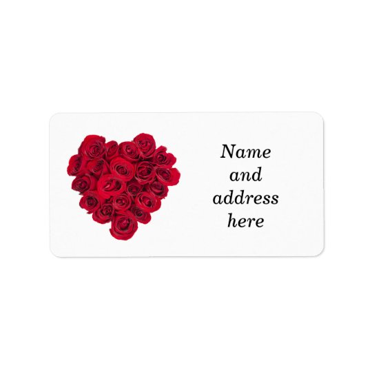 Red roses heart address label
