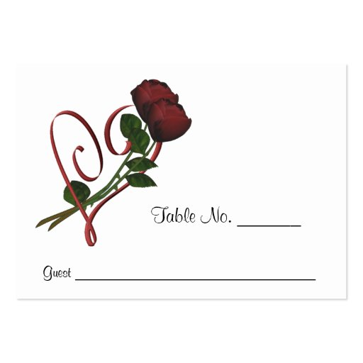 Red Roses Heart Wedding Place Cards Personalized Business Card Template