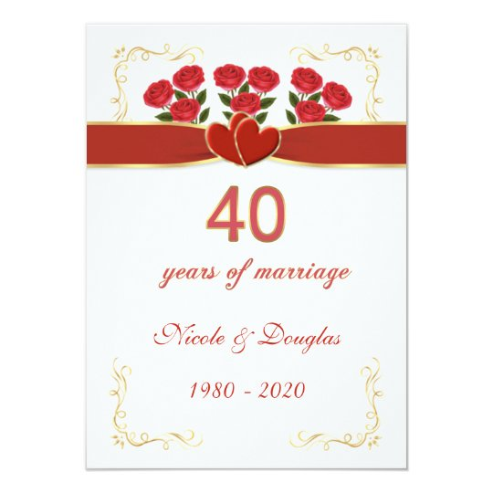 Red roses, hearts 40th Wedding Anniversary Card