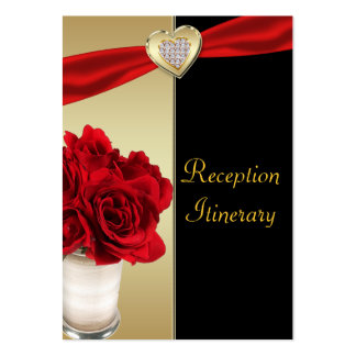 Red Roses & Hearts, Gold & Black Wedding Large Business Cards (Pack Of 100)