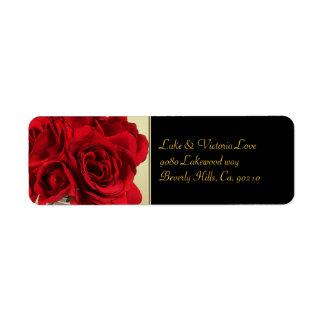 Red Roses & Hearts, Gold & Black Wedding Return Address Label