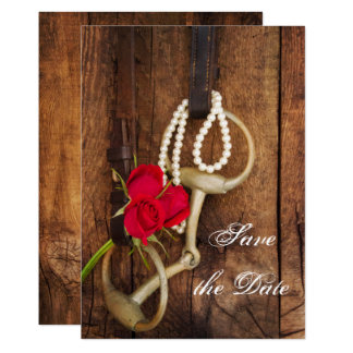 Red Roses Horse Bit Western Wedding Save the Date Card