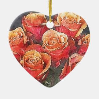Red Roses Illustration Ceramic Heart Decoration