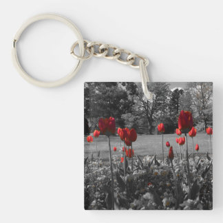 red roses in black and white garden photography Double-Sided square acrylic key ring