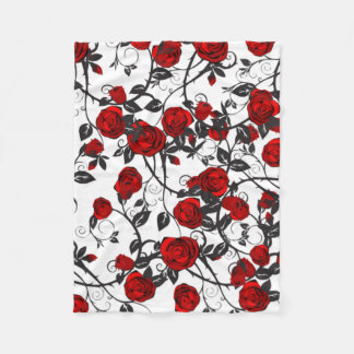 Red Roses in Spring Fleece Blanket